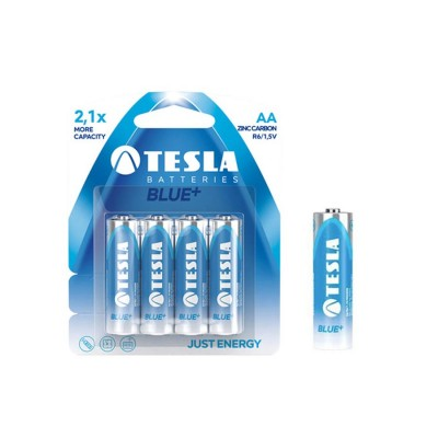 TESLA AA BLUE+ Zinc Carbon 4ks blister