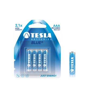 TESLA AAA BLUE+ Zinc Carbon 4ks blister